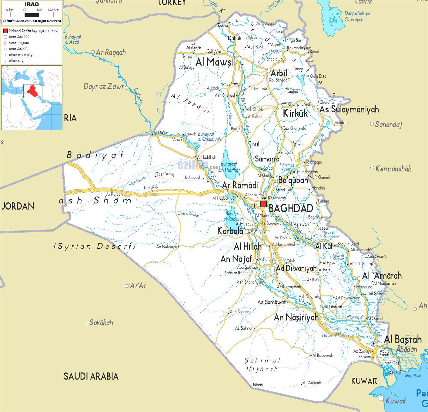 Irak Reky Mapa Mapa Iraku Reky Zapadni Asie Asie