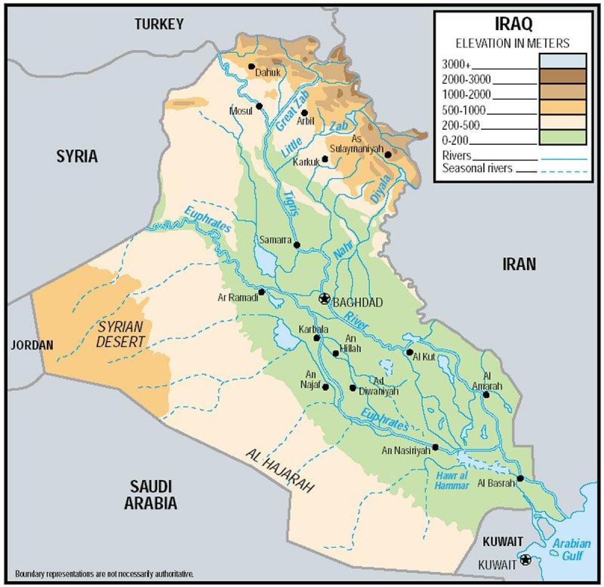 Irak Vyskova Mapa Mapa Iraku Nadmorska Vyska Zapadni Asie Asie